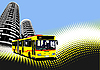 Vector clipart: Bus in city