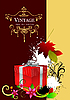 Vector clipart: Cover with red gift box and autumn leaves