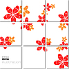 Vector clipart: geometrical mosaic pattern with flowers