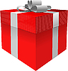 Vector clipart: Red gift box with grey bow