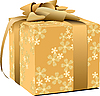 Golden decorated gift box with bow