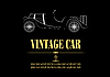 Vector clipart: White silhouette of vintage car cabriolet