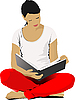 Vector clipart: Young Woman reading book