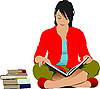 Vector clipart: Woman reading book