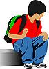 Escuela muchacho va a la escuela | Ilustración vectorial