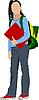 Vector clipart: School girl is going to school