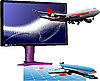 computer monitor with passenger airplane