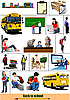 Vector clipart: Back to school. Set of School
