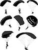 Vector clipart: set of parachutists in flight
