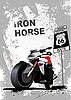 Vector clipart: Grunge gray poster with motorcycle