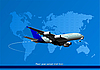 Vector clipart: passenger airplane and world map