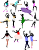 Vector clipart: Ballet dancers in action