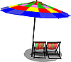 Vector clipart: Two beach chairs and colored umbrella