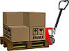 Векторный клипарт: Промышленный вилочный погрузчик с коробками