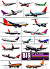 Vector clipart: set of airliners