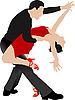 Векторный клипарт: Пара танцует танго