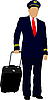 Vector clipart: Pilot with suitcase