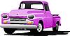 Векторный клипарт: Старинный розовый пикап