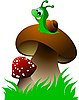 Vector clipart: Funny green snail and two mushrooms