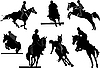 Vector clipart: Horse riders silhouettes