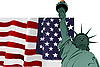 Vector clipart: U.S. flag and Statue of Liberty