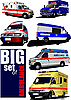 set of modern ambulance vans