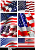 Vector clipart: set of U.S. flags