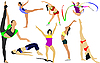 Vector clipart: Women doing gymnastic exercises