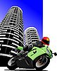Vector clipart: Biker in the city