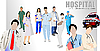 Vector clipart: Medical doctors and nurses in hospital