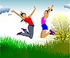 Vector clipart: Jumping girls