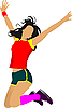 Vector clipart: Jumping girl