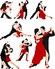 Vector clipart: Couples dancing tango