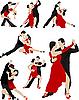 Векторный клипарт: Пары танцуют танго