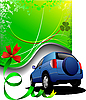 Vector clipart: Green poster and blue sedan
