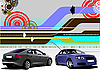 Vector clipart: i-tech background with two sedan cars