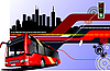 Vector clipart: hi-tech background with city bus