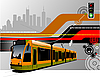 Vector clipart: hi-tech background with tram