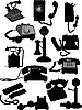 Vector clipart: set of old phone silhouette