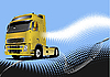 Vector clipart: Blue poster with truck