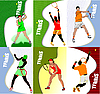 Vector clipart: Six Posters with tennis players