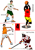 Vector clipart: basketball, ice hockey, tennis, soccer