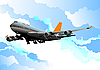 Vector clipart: Passenger airplane in the air