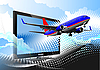 Vector clipart: Flat computer monitor with passenger airplane