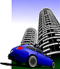 Vector clipart: car in the city
