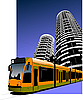 Vector clipart: Tram in the city