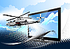 Vector clipart: Combat helicopter from monitor