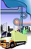 Vector clipart: truck in city