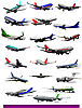 Vector clipart: set of twenty passenger airplanes