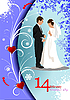 Vector clipart: Valentine`s Day Card with bride and groom